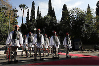 Pictured: Presidential Guards known as Tsoliades gather to welcome US President Barack Obama in Athens, Greece. Tuesday 15 November 2016<br /> Re: US President Barack Obama state visit to Greece