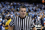 CHAPEL HILL, NC - FEBRUARY 12: Referee Doug Shows. The University of North Carolina Tar Heels hosted the University of Notre Dame Fighting Irish on February 12, 2018 at Dean E. Smith Center in Chapel Hill, NC in a Division I men's college basketball game. UNC won the game 83-66.