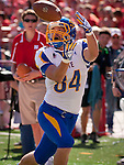 LINCOLN, NE - SEPTEMBER 21, 2013: South Dakota State's Trevor Tiefenthaler #84 catches a pass in the first quarter in their game against the Nebraska at Memorial Stadium in Lincoln, NE on Saturday Sept 21, 2013.  (Photo By Ty Carlson/Inertia)