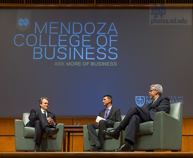 Sept. 18, 2015; Brian Moynihan, CEO of Bank of America, participates in a panel discussion-style interview with MBA student Christopher Boese and Mendoza College of Business Director of Marketing Communications Peter Ashley in the Jordan Auditorium.  The event was part of the Boardroom Inisghts lecture series. (Photo by Matt Cashore/University of Notre Dame)