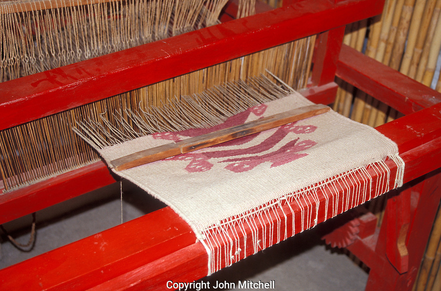Weaving dyed with Cochineal, Cochineal Farm, San Bartolo Coyotepec, Oaxaca, Mexico