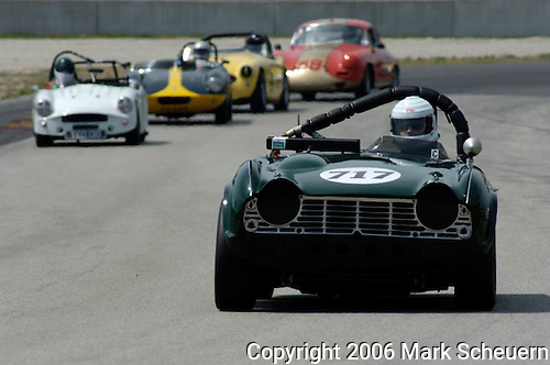 Bob Thumel driving his 1962 Triumph TR4 at the Kohler International Challenge with Brian Redman, 2006<br /> <br /> Please contact me for full-size images.<br /> <br /> For non-editorial usage, releases are the responsibility of the licensee.
