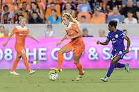 Rachel Daly (3) of the Houston Dash races up the field with the ball against the Orlando Pride on Friday, May 20, 2016 at BBVA Compass Stadium in Houston Texas. The Orlando Pride defeated the Houston Dash 1-0.