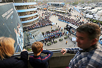 Fans look on as the Manchester City team coach arrives at The Etihad ahead of kick-off<br /> <br /> Photographer Rich Linley/CameraSport<br /> <br /> UEFA Champions League - Quarter-finals 2nd Leg - Manchester City v Tottenham Hotspur - Wednesday April 17th 2019 - The Etihad - Manchester<br />  <br /> World Copyright © 2018 CameraSport. All rights reserved. 43 Linden Ave. Countesthorpe. Leicester. England. LE8 5PG - Tel: +44 (0) 116 277 4147 - admin@camerasport.com - www.camerasport.com
