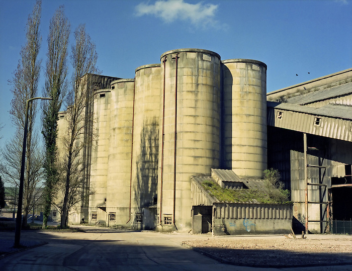 A disused factory - a cement works - on the outskirts of Brighton, England. [Upper Beeding]