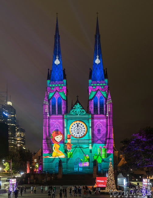 The dazzling light projections on St Mary's Cathedral in Sydney, NSW, Australia. during the lead up to Christmas.