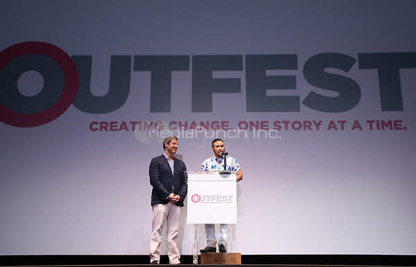 "LOS ANGELES, CA- Christopher Racster, Kieran Medina, At 2017 Outfest Los Angeles LGBT Film Festival - Closing Night Gala Screening Of ""Freak Show"" at The Theatre at Ace Hotel, California on July 16, 2017. Credit: Faye Sadou/MediaPunch"
