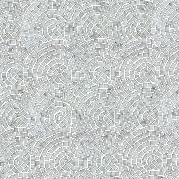 Fishscales, a hand-cut stone mosaic, shown in polished Carrara.