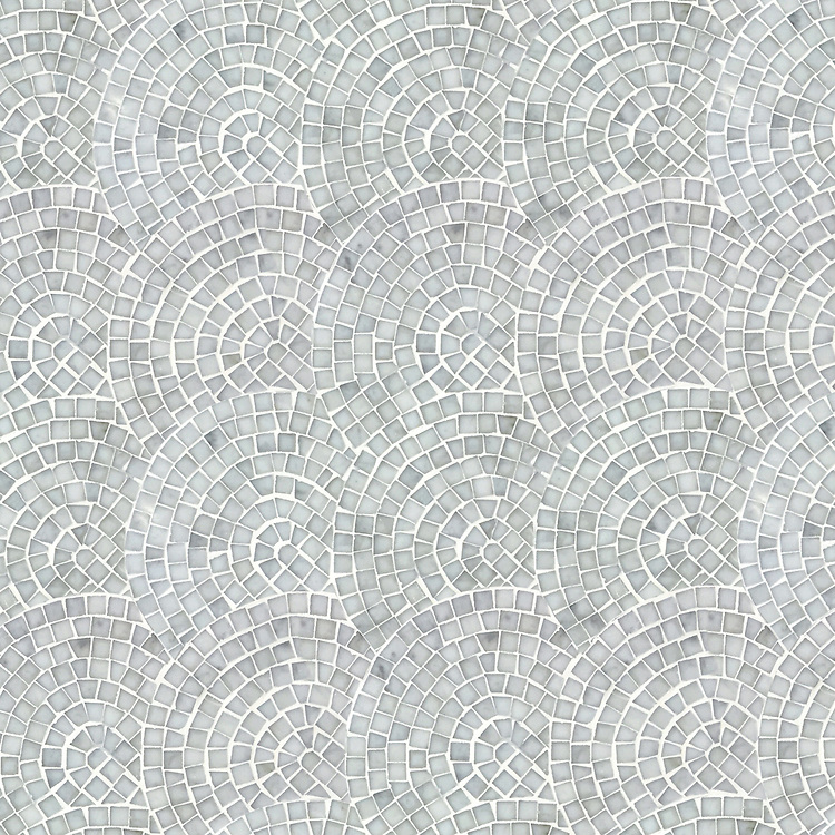 Fishscales, a hand-cut stone mosaic, shown in polished Carrara.