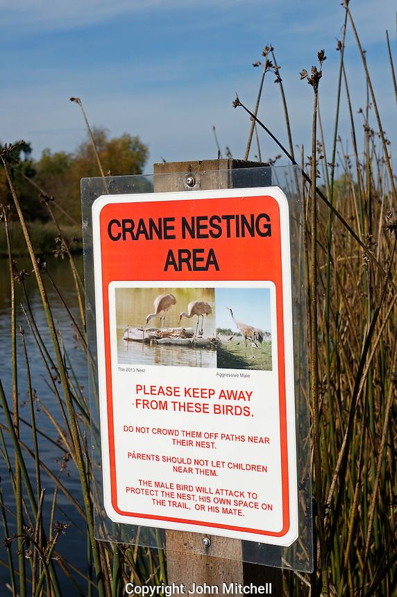 Crane nesting area sign at the George C. Reifel Migratory Bird Sanctuary, Delta, BC, Canada