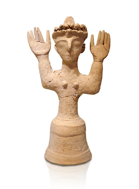 Minoan Postpalatial terracotta  goddess statue with raised arms and a crown of snakes, Kannia Sanctuary,  Gortys, 1350-1250 BC, Heraklion Archaeological Museum, white background. <br /> <br /> The Goddesses are crowned with symbols of earth and sky in the shapes of snakes and birds, describing attributes of the goddess as protector of nature.