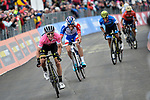 Race leader Maglia Rosa Simon Yates (GBR) Mitchelton-Scott races towards the finish line, followed by Thibaut Pinot (FRA) Groupama-FDJ and Maglia Azzurra Esteban Chaves (COL) Mitchelton-Scott, of Stage 9 of the 2018 Giro d'Italia, running 225km from Pesco Sannita to Gran Sasso d'Italia (Campo Imperatore), this year's Montagna Pantani, Italy. 13th May 2018.<br /> Picture: LaPresse/Marco Alpozzi | Cyclefile<br /> <br /> <br /> All photos usage must carry mandatory copyright credit (&copy; Cyclefile | LaPresse/Marco Alpozzi)