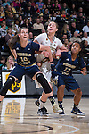 Katarina Vuckovic (10) and Cha'Ron Sweeney (13) of the Georgia Tech Yellow Jackets box out Elisa Penna (41) of the Wake Forest Demon Deacons during first half action at the LJVM Coliseum on January 22, 2017 in Winston-Salem, North Carolina.  The Demon Deacons defeated the Yellow Jackets 70-65 in overtime.  (Brian Westerholt/Sports On Film)
