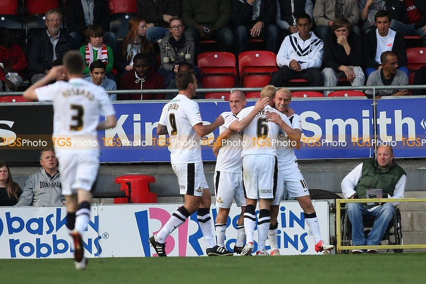 David Cotterill (right) of Doncaster Rovers scores and celebrates - Leyton Orient vs Doncaster Rovers - NPower League One Football at the Matchroom Stadium, Brisbane Road, London - 29/09/12 - MANDATORY CREDIT: George Phillipou/TGSPHOTO - Self billing applies where appropriate - 0845 094 6026 - contact@tgsphoto.co.uk - NO UNPAID USE.