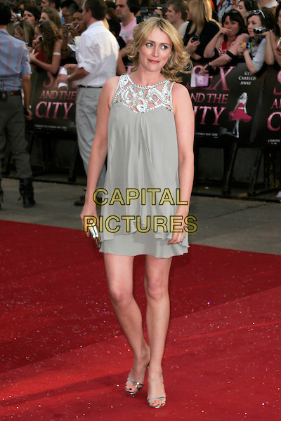 "KEELEY HAWES.Arrivals at the ""Sex And The City: The Movie"" World Premiere, Odeon Leicester Square, London, England, UK. .May 12th 2008 .SATC full length brown grey beige dress shoes clutch bag purse silver strappy sandals.CAP/AH.©Adam Houghton/Capital Pictures."