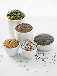 Sunflower seeds, flax seeds, chia seeds, pumpkin seeds