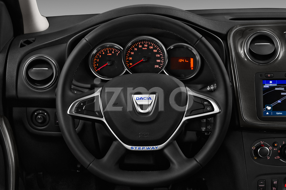 Car pictures of steering wheel view of a 2017 Dacia Sandero Stepway 5 Door Hatchback Steering Wheel