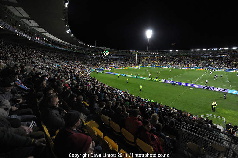 A general view from the grandstand during the South Africa versus Fiji pool D match of the 2011 IRB Rugby World Cup at Wellington Regional Stadium, Wellington, New Zealand on Saturday, 17 September 2011. Photo: Dave Lintott / lintottphoto.co.nz