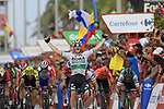 Sam Bennett (IRL) Bora-Hansgrohe wins Stage 3 of La Vuelta 2019 running 188km from Ibi. Ciudad del Juguete to Alicante, Spain. 26th August 2019.<br /> Picture: Eoin Clarke | Cyclefile<br /> <br /> All photos usage must carry mandatory copyright credit (© Cyclefile | Eoin Clarke)