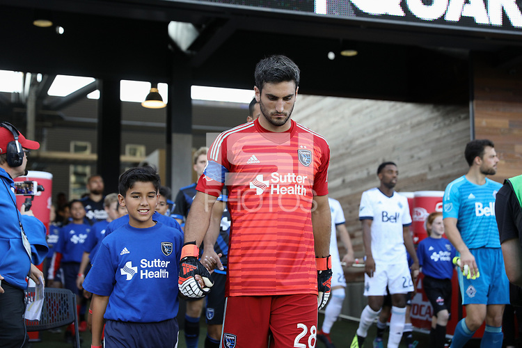 San Jose, CA - Saturday August 25, 2018: Andrew Tarbell during a Major League Soccer (MLS) match between the San Jose Earthquakes and Vancouver Whitecaps FC at Avaya Stadium.