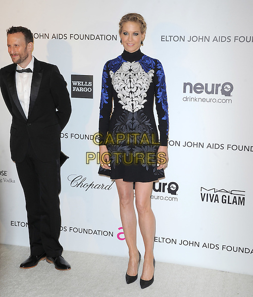 Bodhi Elfman & Jenna Elfman.The 21st Annual Elton John AIDS Foundation Academy Awards Viewing Party held at The City of West Hollywood Park in West Hollywood, California, USA..February 24th, 2013.oscars full length dress blue black white embroidered high collar long sleeves tuxedo beard facial hair married husband wife .CAP/DVS.©DVS/Capital Pictures.