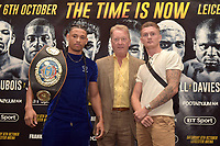 Lyon Woodstock (L), Frank Warren and Archie Sharp during a Press Conference at the Landmark London Hotel on 2nd August 2018