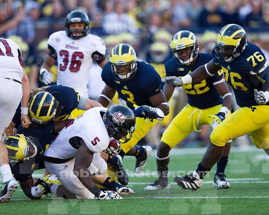 The University of Michigan football team beat Massachusetts, 63-13, at Michigan Stadium in Ann Arbor, Mich., on September 15, 2012.