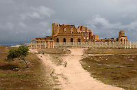 Sabratha, Libya - Roman Theater.  Peristyle House, left of center.
