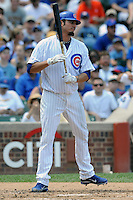 Chicago Cubs starting pitcher Matt Garza #22 reacts to striking out  during a game against the Arizona Diamondbacks at Wrigley Field on July 15, 2012 in Chicago, Illinois. The Cubs defeated the Diamondbacks 3-1. (Tony Farlow/Four Seam Images).