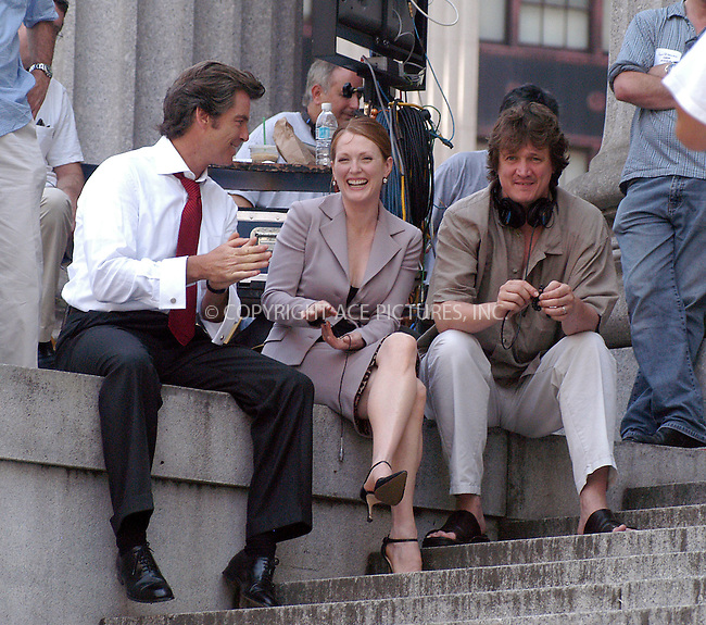 "Pierce Brosnan, Julianne Moore and director Peter Howitt on the set of their new movie, ""The Laws of Attraction"" on the steps of Manhattan's Courthouse. New York, August 14, 2003. Please byline: NY Photo Press.   ..*PAY-PER-USE*      ....NY Photo Press:  ..phone (646) 267-6913;   ..e-mail: info@nyphotopress.com"