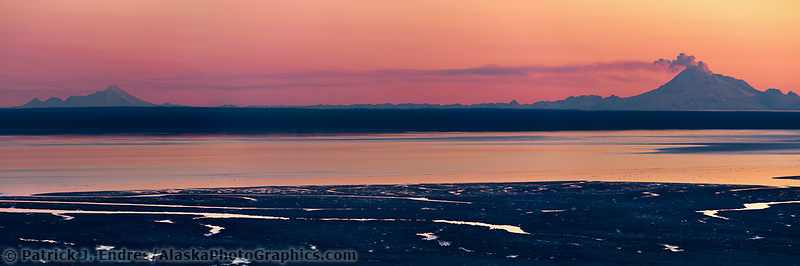 Plume of gas and vapor vent from the summit of Mt. Redbout volcano, chigmit mountains, aleutian range, as viewed across the Cook Inlet, southcentral, Alaska.