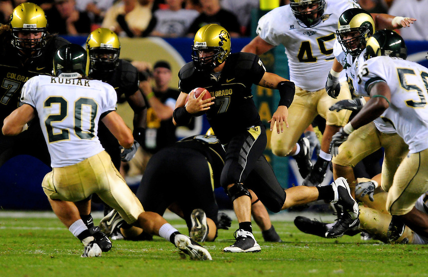 31 Aug 2008: Colorado quarterback Cody Hawkins carries the ball against Colorado State. The Colorado Buffaloes defeated the Colorado State Rams 38-17 at Invesco Field at Mile High in Denver, Colorado. FOR EDITORIAL USE ONLY