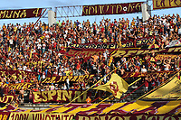 IBAGUÉ- COLOMBIA,26-05-2019:Hinchas del Deportes Tolima.Acción de juego entre los equipos Deportes Tolima y el Atlético Junior  durante el cuarto partido de los cuadrangulares finales de la Liga Águila I 2019 jugado en el estadio Manuel Murillo Toro de la ciudad de Ibagué. /Fans of Deportes Tolima.Action game between teams Deportes Tolima and Atletico Junior  during the fourth match for the quarter finals B of the Liga Aguila I 2019 played at the Manuel Murillo Toro stadium in Ibague city. Photo: VizzorImage / Felipe Caicedo / Staff