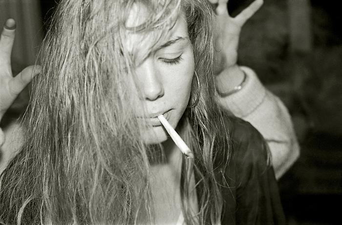 Girl smoking.