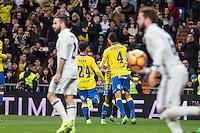 Vicente Gomez, Jonathan Viera celebrates after scoring a goal  during the match of Spanish La Liga between Real Madrid and UD Las Palmas at  Santiago Bernabeu Stadium in Madrid, Spain. March 01, 2017. (ALTERPHOTOS / Rodrigo Jimenez) /NORTEPHOTOmex