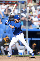 Toronto Blue Jays infielder Andy Burns (70) during a spring training game against the Pittsburgh Pirates on February 28, 2014 at Florida Auto Exchange Stadium in Dunedin, Florida.  Toronto defeated Pittsburgh 4-2.  (Mike Janes/Four Seam Images)