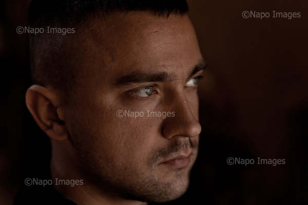 POZNAN, 3/2015:<br /> Tomasz, czlonek  organizacji &quot;Strzelec&quot; podczas pracy na ranczo pod Poznaniem. Od rozpoczecia wojny na Ukrainie rozne organizacje paramilitarne staja sie coraz bardziej popularne.<br /> Fot: Piotr Malecki<br /> <br /> POZNAN, POLAND, MARCH 2015:<br /> Member of &quot;Strzelec&quot; (&quot;The Shooter&quot;) paramilitary association Tomasz at the ranch near Poznan, where he helps his girlfriend.<br /> Since the start of war in Ukraine, paramilitary associations are becoming more popular.<br /> (Photo by Piotr Malecki)