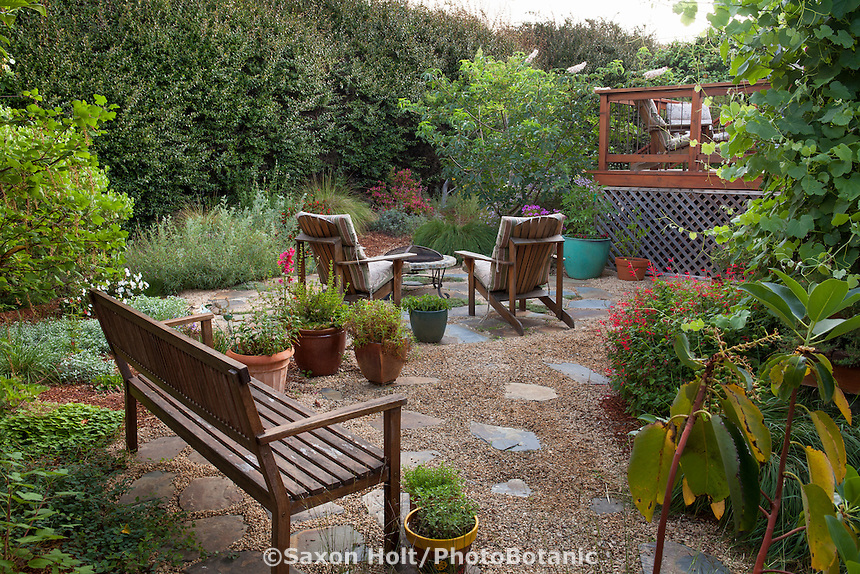 Wooden Bench On Permeable Patio Garden Room With Crushed Rock; California  Native Plants, Heath