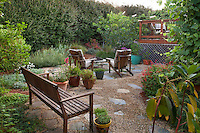 Wooden bench on permeable patio garden room with crushed rock; California native plants, Heath-Delaney garden