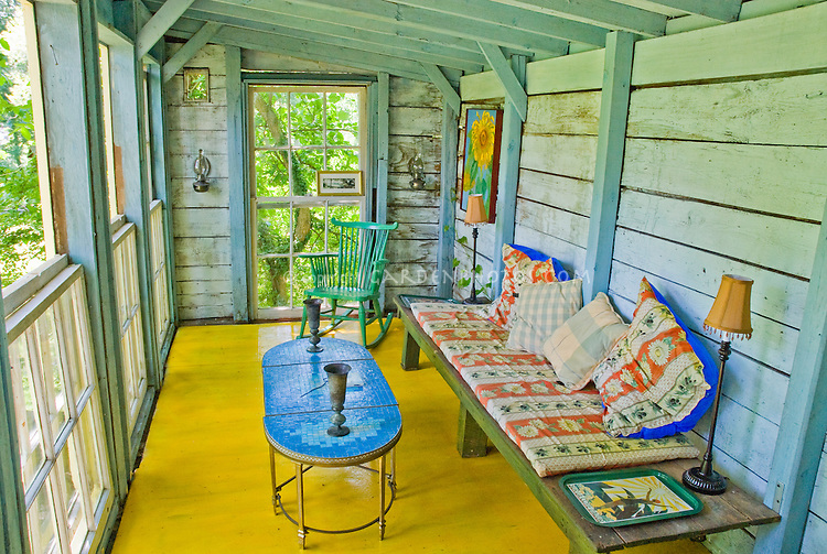 House Front Porch Wood Beams Bright Paint Rocker