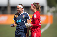 Sanford, FL - Saturday Oct. 14, 2017:  Courage teammates check in to the game during a US Soccer Girls' Development Academy match between Orlando Pride and NC Courage at Seminole Soccer Complex. The Courage defeated the Pride 3-1.