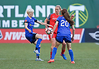 Portland, OR - Saturday May 06, 2017: Jess Fishlock, Lindsey Horan during a regular season National Women's Soccer League (NWSL) match between the Portland Thorns FC and the Chicago Red Stars at Providence Park.