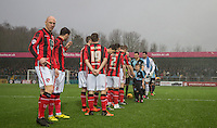 Kevin Ellison of Morecambe makes a pose during pre match handshakes during the Sky Bet League 2 match between Wycombe Wanderers and Morecambe at Adams Park, High Wycombe, England on 2 January 2016. Photo by Andy Rowland / PRiME Media Images