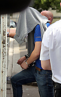Pictured: Jake Vallely leaving Cardiff Crown Court after an earlier hearing.<br /> Re: Trial at Cardiff Crown Court of Jake Vallely, 23 and Aaeron Evans, 22, charged with murder and causing actual bodily harm respectively in relation to the death of serviceman Matthew Boyd, 20, from the Royal Gibraltar Regiment who was discovered injured and unconscious in Lion Street, Brecon, at 1am on May 8, 2016. The two defendants were arrested shortly afterwards and charged four days later.