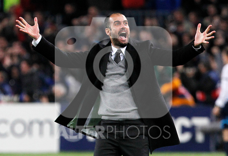 FC Barcelona's coach coach Pep Guardiola celebrates goal during UEFA Champions League match.March 8,2011. (ALTERPHOTOS/Acero)