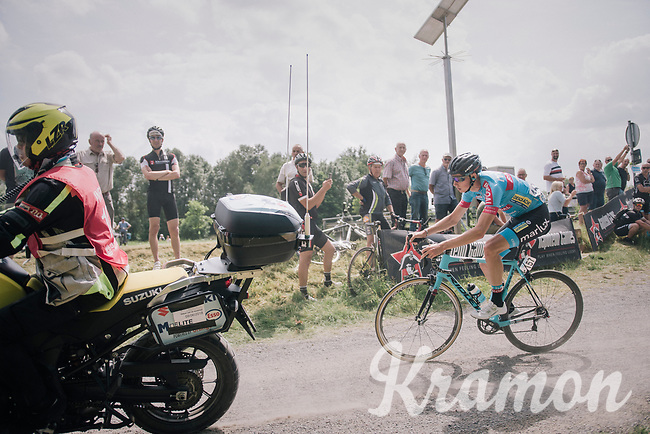 Michael Vanthourenhout (BEL/Marlux-Bingoal) oversteering a corner trying to avoid a jury moto over the gravel roads<br /> <br /> 3rd Dwars Door Het hageland 2018 (BEL)<br /> 1 day race:  Aarschot > Diest: 198km