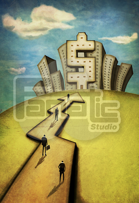 Illustrative image of businessmen walking on cross representing path to success