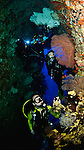 East Indonesia, Raja Ampat, caverns and swim through with wall covered with sponges, sea fans, soft corals, tunicates.