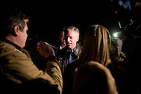 Former Utah governor Jon Huntsman speaks to the media outside a house party in Bedford, New Hampshire, on Jan. 8, 2012. Huntsman is seeking the 2012 Republican presidential nomination.
