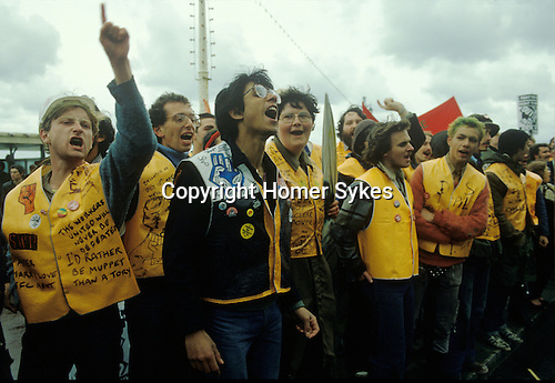 Right To Work march. Brighton 1981. Protesters outside the conference centre where the Conservative Party Conference is taking place. The People's March for Jobs